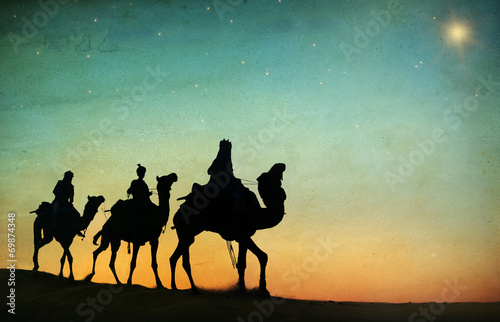 canvas print picture Group of People Riding Camel Isolated on Background