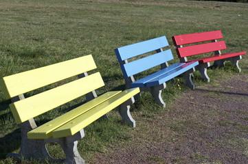 bancs de jardin colorés