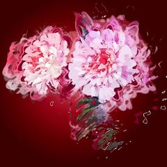 Grunge painting peony flowers.