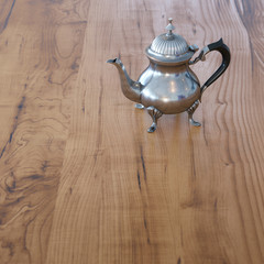 Vintage Coffee Pot On Wooden Surface