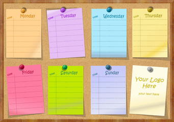Notice board with post it