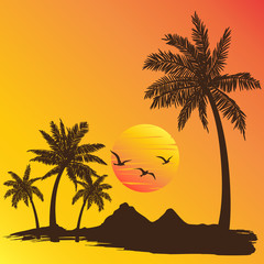 summer vacation on tropical beach sunset background, with Palm t