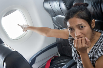 terrified passenger on a plane