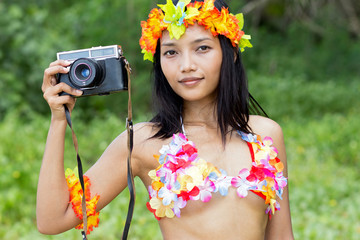 hawaii hula dancer holding camera