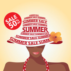 Summer Sale, Shopping, Tan Woman, Typography