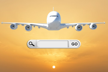 Search bar in browser and airplane