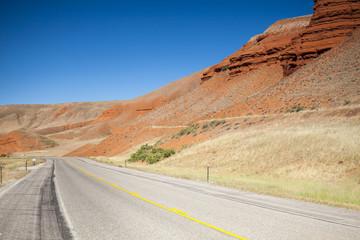 Winding road through mountainous area, Utah, USA