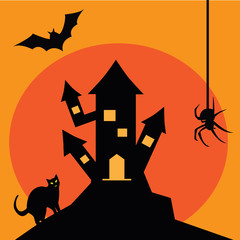 Scary old castle on Halloween with bat, spider and cat