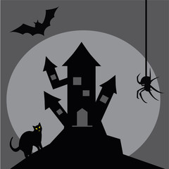 Scary gray old castle on Halloween with bat, spider and cat