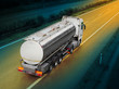 canvas print picture - White tanker truck on the highway.