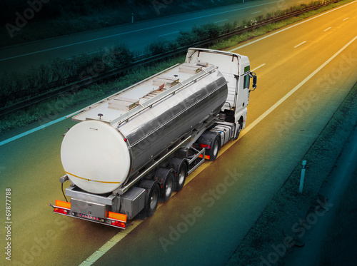 canvas print picture White tanker truck on the highway.