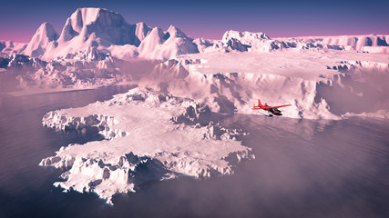 Aerial of red airplane flying over icebergs with ocean at sunris