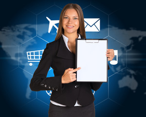 Businesswoman with cloud of icons and world map
