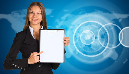 Businesswoman with empty circle frames and world map