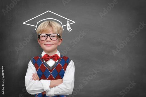 canvas print picture Schulkind an der Tafel