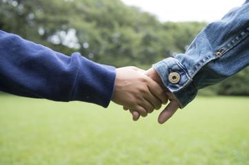 Children holding hands in field