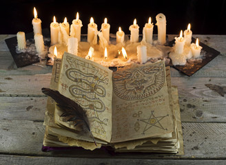 Open magic book in candlelight