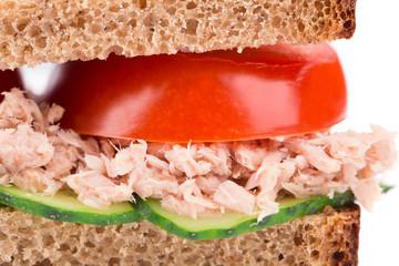 Tuna sandwich. Close-up.