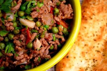 Kheema with naan bread