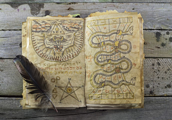 Magic book on wooden table 2