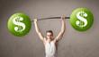 muscular man lifting green dollar sign weights