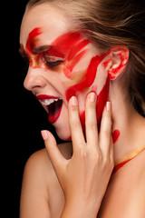 Fashion art paint make up on beautiful girl