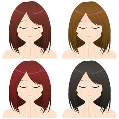 両手を頬にあてる女性 上半身・正面イラスト 髪の色違い4カット