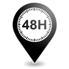 48 heures sur symbole localisation noir