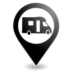 camping car sur symbole localisation noir
