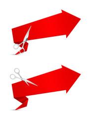 arrow banner with scissors