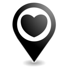 coup de cœur sur symbole localisation noir