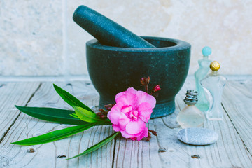 Mortar, parfume and oils for body care