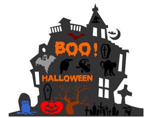 casa di halloween su sfondo bianco