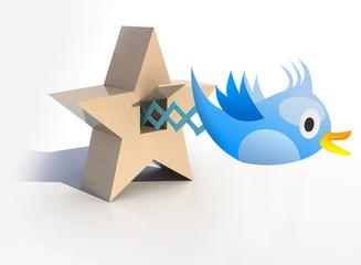 Blue Cuckoo tweets and sings