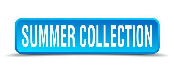 Summer collection blue 3d realistic square isolated button