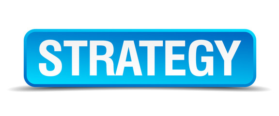 Strategy blue 3d realistic square isolated button