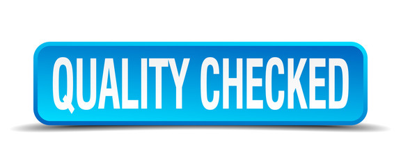 quality checked blue 3d realistic square isolated button