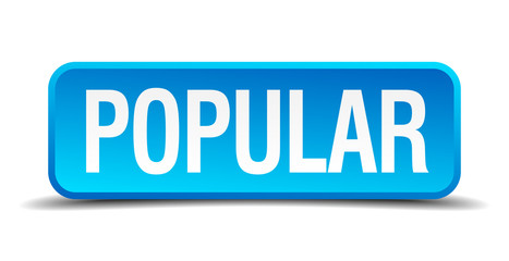 Popular blue 3d realistic square isolated button