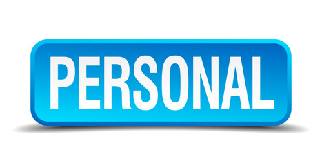 Personal blue 3d realistic square isolated button