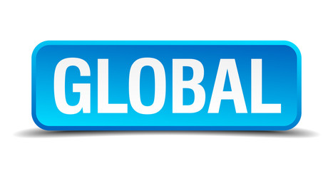 Global blue 3d realistic square isolated button