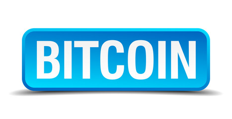 bitcoin blue 3d realistic square isolated button