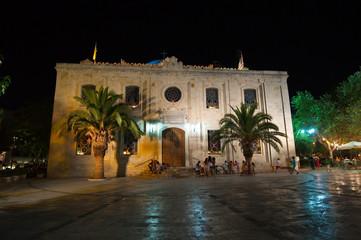 Church of Saint Titus at night in Heraklion on Crete, Greece.