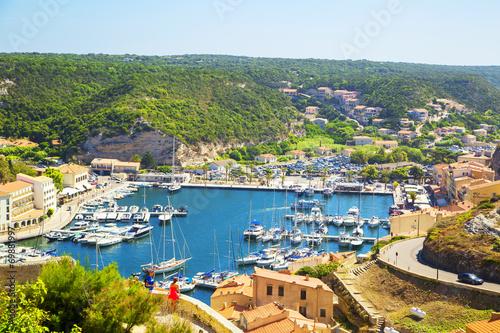 Spoed canvasdoek 2cm dik Luchtfoto Bonifacio port in Corsica, France.