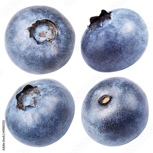 Staande foto Vruchten Set of blueberry berry isolated on white with clipping path