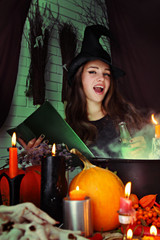 Witch brews a potion