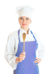 Portrait of female chef cook. Isolated on white background.