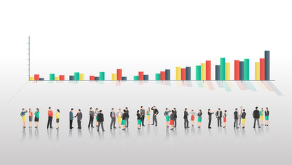 Business people with bar chart