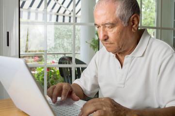 senior man looking for information