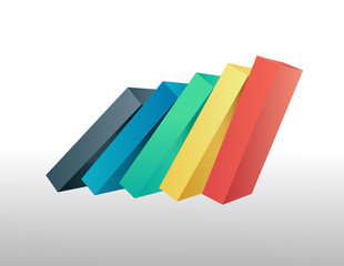 Colourful bars falling over vector