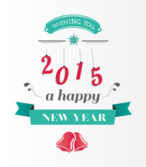Happy new year message in blue and red